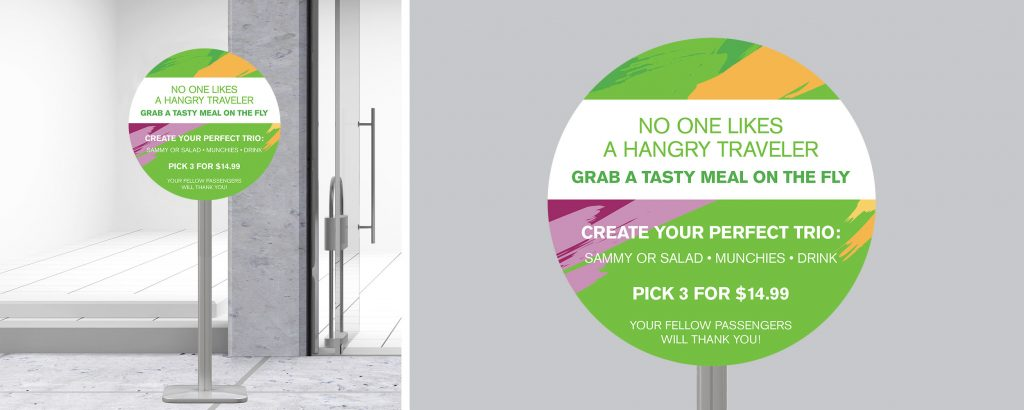 Bright colored storefront marketing materials