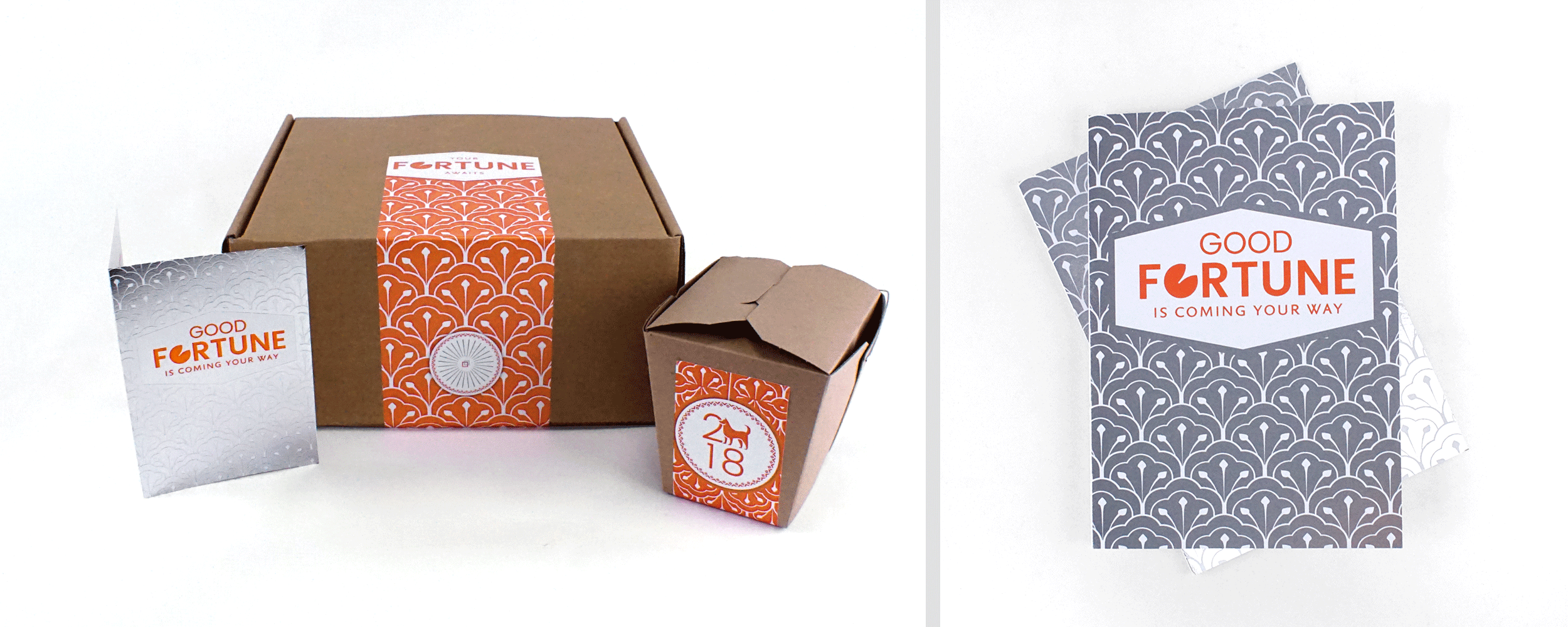Image of gift including a card, box, and shipping box.