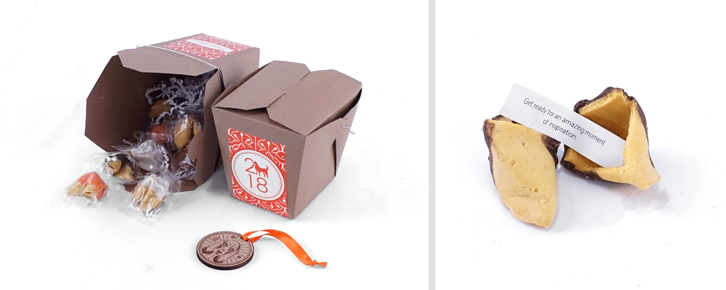 Image of client holiday gift with a takeout box and custom fortune cookie.