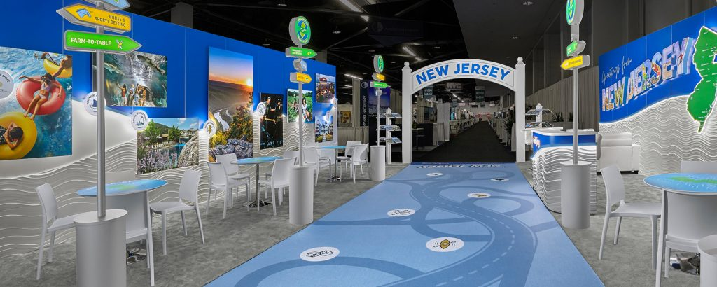 A detailed view of New Jersey Tourism's booth