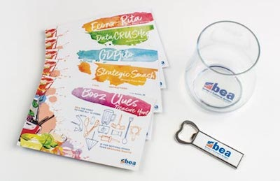 Virtual Happy Hour Box with cards, bottle opener, and a glass